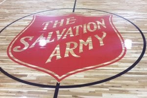 The Salvation Army basketball court logo