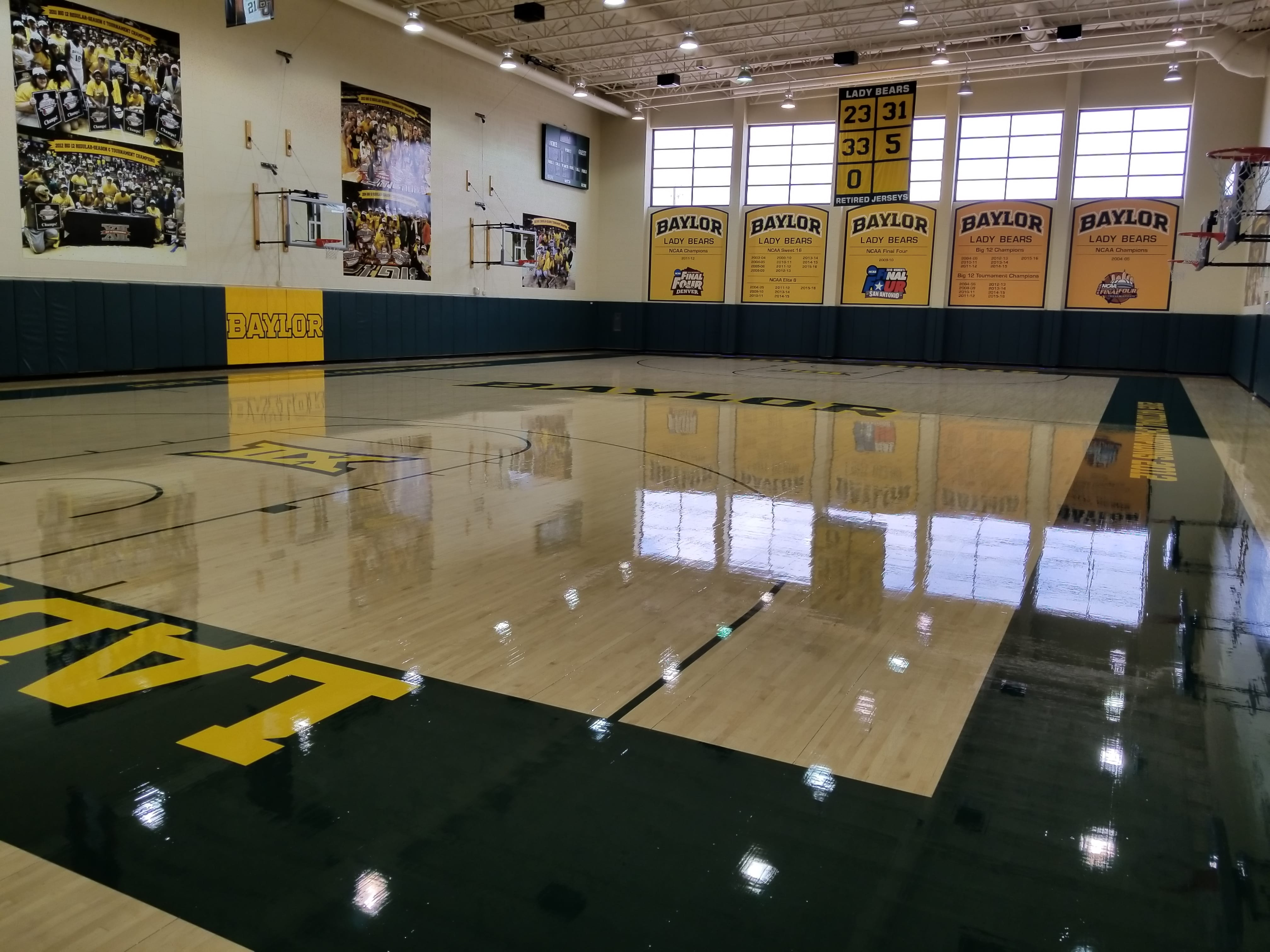 Baylor Women's Practice Court Refinished with oil based finish