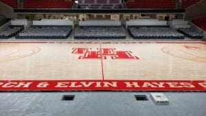 UH logo at center of basketball court